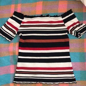 striped off shoulder shirt